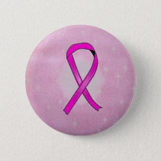 breast cancer ribbon sparkles 6 cm round badge