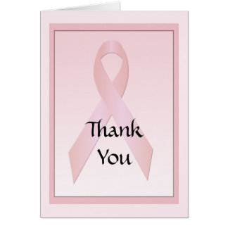 Breast Cancer Ribbon Thank You Note Card