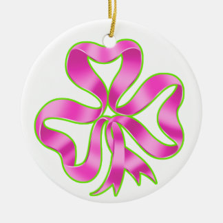 Breast Cancer Shamrock Ribbon Ceramic Ornament