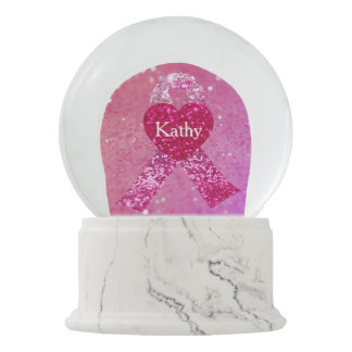 Breast Cancer Sparkle Pink Ribbon Personalized Snow Globe