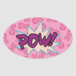 Breast Cancer Super Hero Oval Sticker