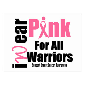 Breast Cancer Support Pink Ribbon All Warriors Postcard