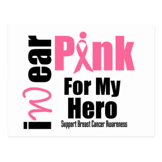 Breast Cancer Support Pink Ribbon Hero Postcard
