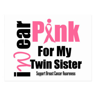 Breast Cancer Support Pink Ribbon Twin Sister Post Cards
