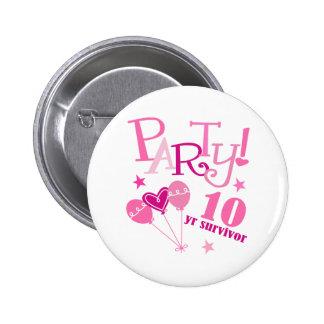 Breast Cancer Survivor 10 Year 6 Cm Round Badge