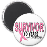 BREAST CANCER SURVIVOR 10 Years & Counting Refrigerator Magnet