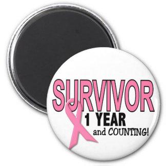 BREAST CANCER SURVIVOR 1 Year & Counting 6 Cm Round Magnet