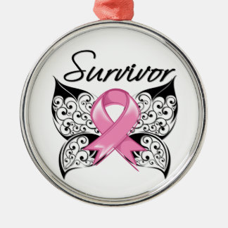 Breast Cancer Survivor Butterfly Silver-Colored Round Decoration