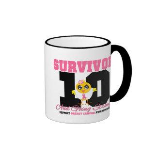 Breast Cancer Survivor Chick 10 Years Ringer Mug