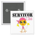 Breast Cancer Survivor Chick 15 Cm Square Badge