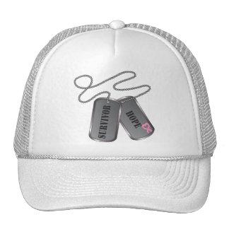 Breast Cancer Survivor Dog Tags Hat