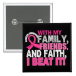 Breast Cancer Survivor Family Friends Faith 15 Cm Square Badge