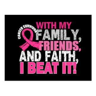 Breast Cancer Survivor Family Friends Faith Postcard