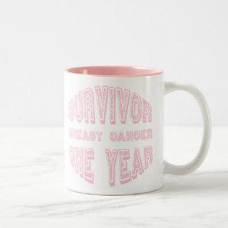Breast Cancer Survivor One Year Two-Tone Coffee Mug