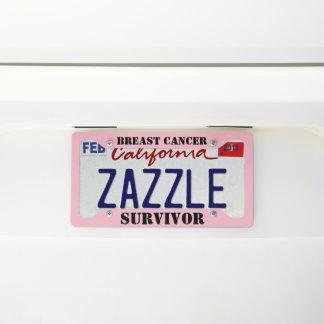 Breast Cancer Survivor Pink License Plate Licence Plate Frame