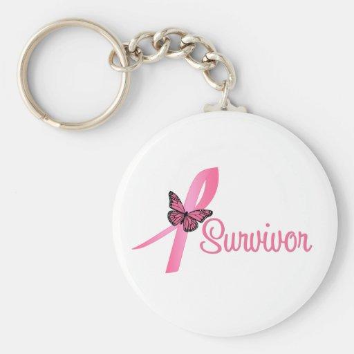 Breast Cancer Survivor Ribbon Basic Round Button Key Ring