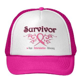 Breast Cancer Survivor Tribal Ribbon Mesh Hats