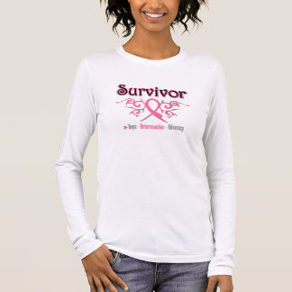 Breast Cancer Survivor Tribal Ribbon Long Sleeve T-Shirt