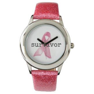 Breast CAncer Survivor Watch with pink strap