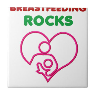 breast feeding rocks, mom with baby small square tile
