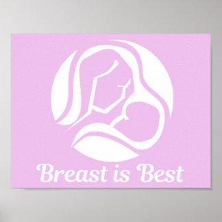 Breast Is Best Pink Breastfeeding Poster