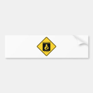 Breastfeeder At Work (Yellow Diamond Warning Sign) Bumper Sticker
