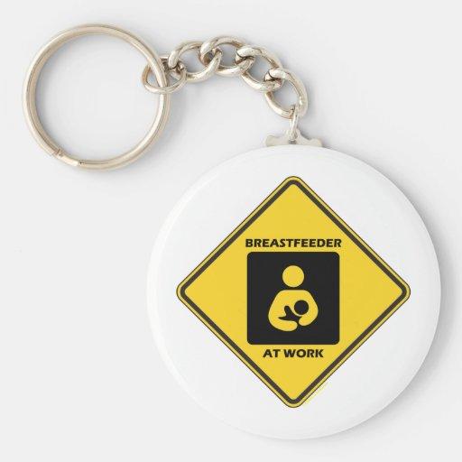 Breastfeeder At Work (Yellow Diamond Warning Sign) Keychains