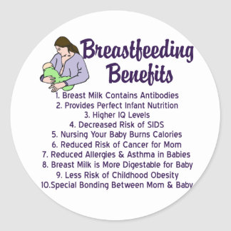 Breastfeeding Benefits Classic Round Sticker