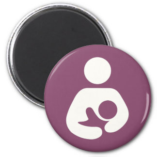 Breastfeeding Icon - Mauve 6 Cm Round Magnet