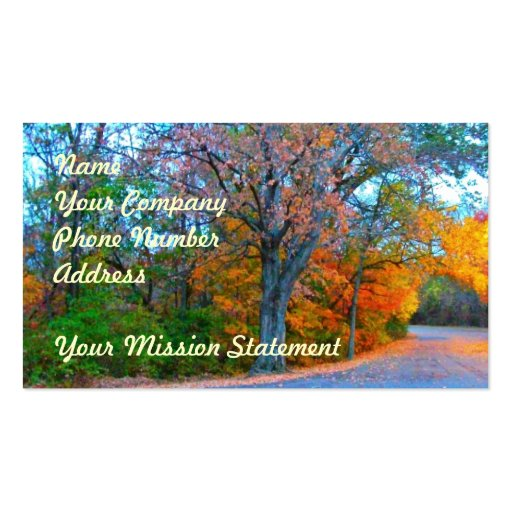 Breath-taking Autumn Day Getaway! Business Card Template