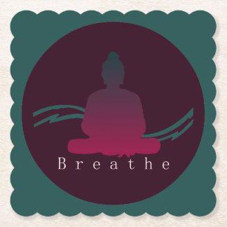 """""""Breathe"""" Beautiful Buddha. Paper Coaster"""
