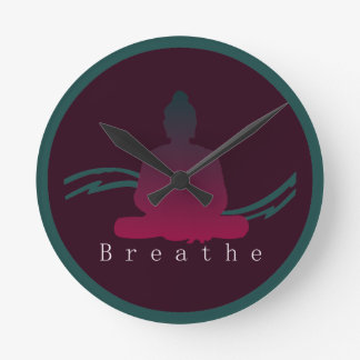 """Breathe"" Beautiful Buddha. Round Clock"