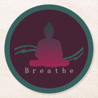 """Breathe"" Beautiful Buddha. Round Paper Coaster"