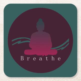 """Breathe"" Beautiful Buddha. Square Paper Coaster"