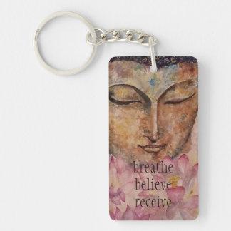 Breathe Believe Buddha Art Key Chain