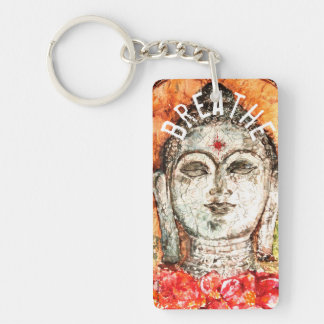 Breathe Buddha Art Key Chain