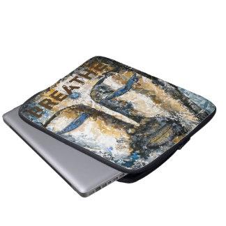 Breathe Buddha Watercolor Art Laptop Sleeve
