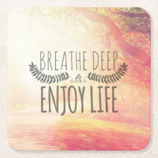 Breathe Deep Square Paper Coaster