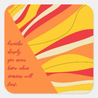 breathe deeply square sticker