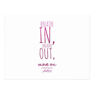 Breathe in breathe out Motivational Glitter Quote Postcard
