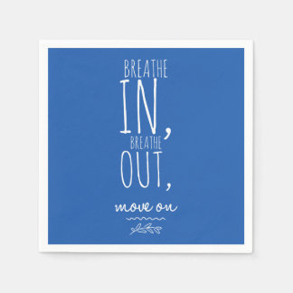 Breathe In Breathe Out White Inspirational Quote Disposable Serviette