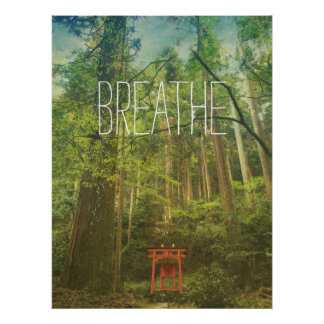 Breathe Kyoto Shinto Shrine Forest Trees Nature Poster