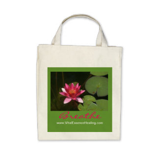 Breathe Pink Lotus Blossom Organic Grocery Tote Tote Bags