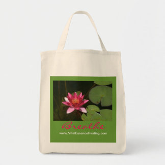 Breathe Pink Lotus Blossom Organic Grocery Tote Grocery Tote Bag