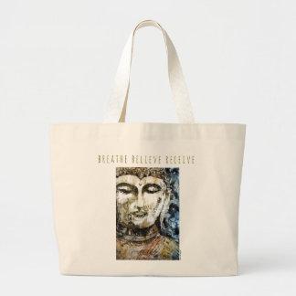 Breathe Zen Buddha Art Jumbo Canvas Tote