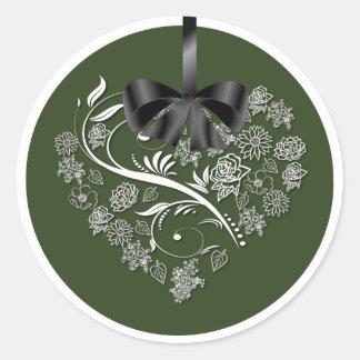 Breathless Wedding Envelope Seals - green Round Sticker