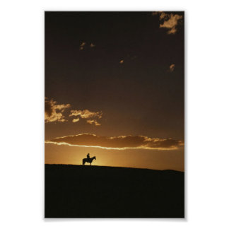 Breathtaking Cowboy Sunset Poster