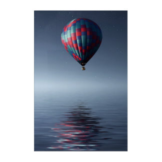 Breathtaking hot-air-balloon over water acrylic wall art