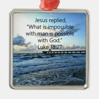 BREATHTAKING LUKE 18:27 OCEAN PHOTO DESIGN METAL ORNAMENT