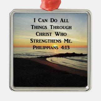 BREATHTAKING PHILIPPIANS 4:13 SCRIPTURE VERSE METAL ORNAMENT